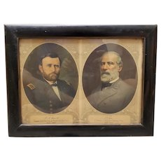 Circa 1920 Ulysses S. Grant/Robert E. Lee Civil War Memorial Portrait Lithographs in Period Frame