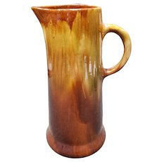 Early 20th Century American Brush Pottery Drip Glaze Tall Pitcher