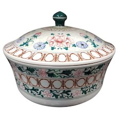 Vintage 1970's Chinese Famille Rose Style Porcelain Lidded Casserole Bowl