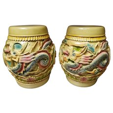 Pair of Mid 20th Century Chinese Lacquered Wood Dragon/Phoenix Motif Rice Barrels