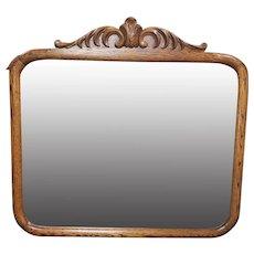 Circa 1900 American Arts and Crafts Movement Tiger Oak Beveled Glass Wall Mirror