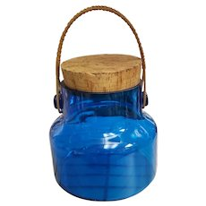 Vintage 1970's Takahashi Cobalt Glass Cork Lidded Jar with Wicker Handle
