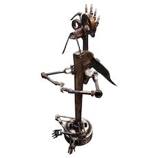 Steampunk Winged Creature Welded Metal Sculpture