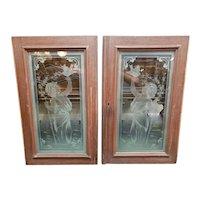 Pair of Circa 1890 American Art Nouveau Etched Glass Woman in Garden Motif Windows