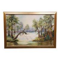 Vintage Louisiana Swamp Scene Oil Painting by D. Rabalais