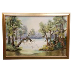 Vintage Louisiana Swamp Scene Oil Painting by D. Rabalais