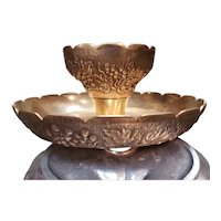 Mid Century Brass Grape Pattern Chip and Dip Bowl