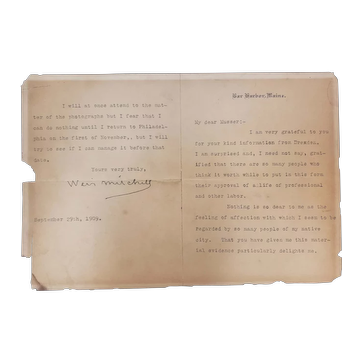1909 Silas Weir Mitchell Hand Signed Typed Letter (Father of Medical Neurology)