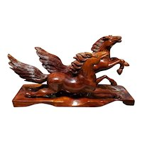 Mid 20th Century Chinese Wooden Running Horses Feng Shui Statue