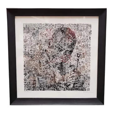 """Sachmo"" Limited Edition Photomosaic Etching Print Signed MM (#20/250) (2010)"