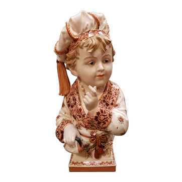 Circa 1887 German August Wilhelm Fridolin Kister Porcelain Young Nobleman Bust Modelled by Professor Reinhard Moller