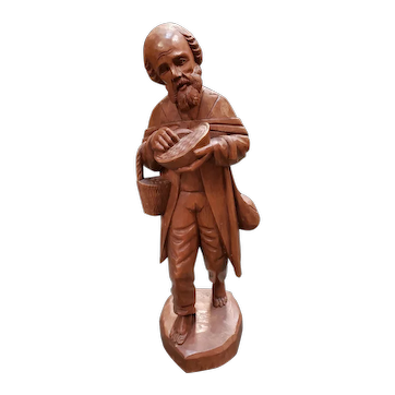 Mid 20th Century Old Wanderer Wood Carving