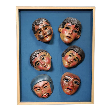 Set of 6 Mid 20th Century Guetamalan Clay Masks Set in Frame