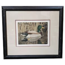 "John Akers - ""Fall Favorite"" Hand Colored Engraving Artist Proof (Louisiana) (20th Century) (Mallard Duck)"