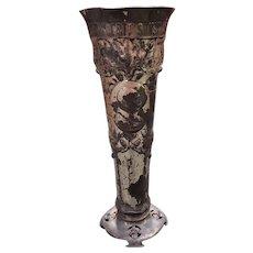 Late 19th Century German Otto von Bismarck Motif Metal Cemetery Vase