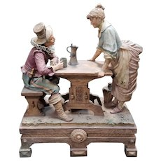 Early 20th Century Austrian Art Nouveau After Goldscheider Terracotta Figural Group Surtout de Table Sculpture