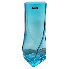 Krosno Art Glass Blue Twist Vase Made in Poland