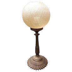 Mid Century Fiberglass Spun Spaghetti Shade Gilded Metal Base Table Lamp