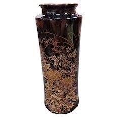 Vintage 1970's Japanese Tenmoku-Kiku Shibata Chinaware Porcelain Gilded Floral Motif Cylindrical Vase
