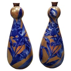 Pair of 1891-1912 Thomas Forester & Sons Pottery Cobalt Blue /Gilt Floral Motif Vases