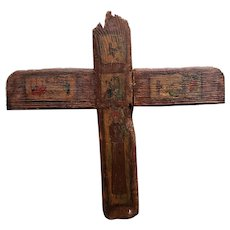 Early 20th Century Puerto Rican San Antonio Hand Painted Wood Icon Cross by A. Dalrymple (San Juan)