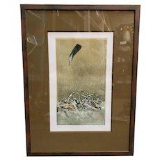 "Hiroki Asada - ""Le Ciel, La Plume"" Limited Edition Signed Hand Colored Engraving (#25/60) (Japan) (20th Century)"