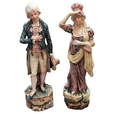 Pair of Late 19th Century French Majolica Porcelain Victorian Man and Woman Figurines