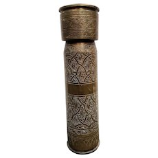 1956 Suez Crisis Trench Art Artillery Shell Lidded Canister with Middle Eastern Inspired Decorative Motifs