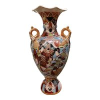 Circa 1920 Japanese Satsuma Porcelain Moriage Geisha/Floral Motifs Vase