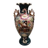 Circa 1920 Japanese Satsuma Porcelain Moriage Geisha/Floral Motifs Baluster Vase