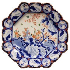 Early 20th Century Japanese Imari Porcelain Octagonal Barbed Edge Cherry Blossom Motif Charger