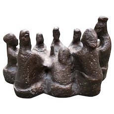 """Shay Rieger - """"The Supper"""" Limited Edition Brutalist Bronze Sculpture (#3/200) (Mid 20th Century) (American)"""