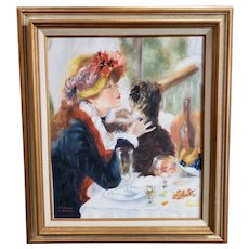 """After Pierre-Auguste Renoir """"Luncheon of the Boating Party"""" Oil Painting by V. Reinhard (Mid 20th Century)"""