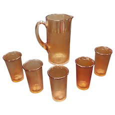 1930's Jeanette Marigold Carnival Glass Tree Bark Pitcher and 5 Glasses Set