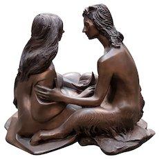 "Anthony Hawken - ""Moon Talk"" Bronze Sculpture (English) (20th Century) (Pagan Great Rite)"