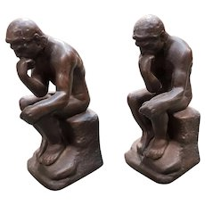 """Pair of Early 20th Century After Rodin """"The Thinker"""" Cast Iron Bookends"""
