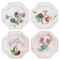 Set of 4 1879 English Brownfield Porcleian Hand Painted Floral Motif Dessert Plates