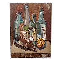 Mid 20th Century Liquor Bottles Oil Painting on Masonite Board by Sullivan