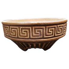 Circa 1920 Stoneware Greek Key Motif Footed Planter