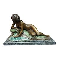 Circa 1920 French Art Deco Nude Woman Atop Rock Bronze Sculpture on Marble Base Signed Philippe