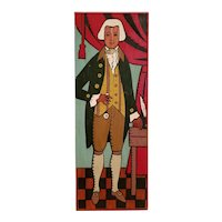 Mid 20th Century Black Americana George Washington Oil Painting on Wood Panel Folk Art