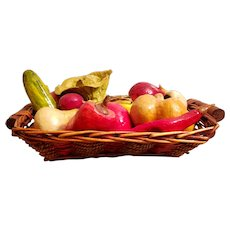 Mid 20th Century Mexican Paper Mache Vegetables in Woven Basket Centerpiece