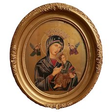 Mid 20th Century Italian Our Lady of Perpetual Help Icon in Gilt Gesso Wood Frame