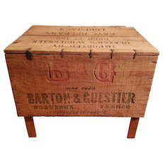 Repurposed 1930's New Orleans Imported Barton & Guestier French Bordeaux Wine Wooden Shipping Crate Stool