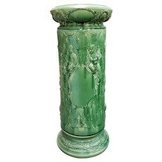 Circa 1890 French Majolica Porcelain Raised Relief Putti and Floral Motif Pedestal