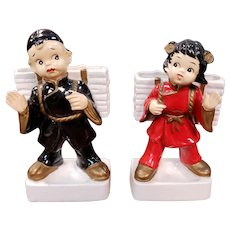 Pair of 1930's Porcelain Asian Boy and Girl Figural Desk Caddies Made in Japan