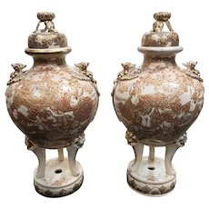 Pair of Late 19th Century Japanese Satsuma Porcelain Gilded Temple Koro Incense Censers (Meiji Period)