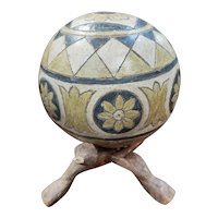 Mexican Clay Pottery Sphere on Wood Tripod Stand by M. Ibarra (1997)