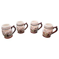 Set of 4 Vintage Startling China Porcelain Bar Hound Whisle Mugs Made in Japan