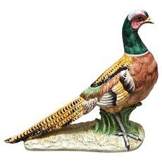 Vintage Italian Vietri Porcelain Pheasant Sculpture